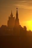 De silhouetten van Moskou het Kremlin Stock Afbeeldingen