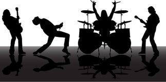 De silhouetten van Musicans Stock Afbeeldingen