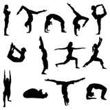 De silhouetten van oefeningsmensen Stock Fotografie