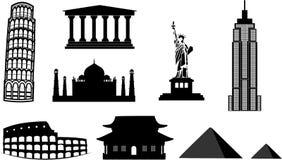 De silhouetten van oriëntatiepunten Stock Foto