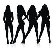 De silhouetten van prostituees Stock Afbeeldingen