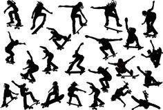 De silhouetten van Skateboarders royalty-vrije stock fotografie
