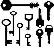 De silhouetten van sleutels Royalty-vrije Stock Afbeelding