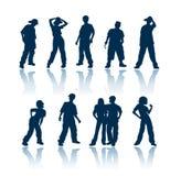 De silhouetten van tieners Royalty-vrije Stock Foto