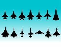 De silhouetten van vechtersvliegtuigen Royalty-vrije Stock Fotografie