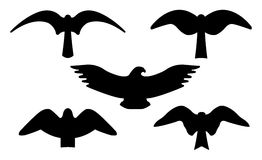 De silhouetten van vogels stock fotografie