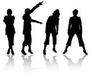 De silhouetten van vrouwen Stock Foto