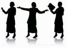 De silhouetten van vrouwen Stock Afbeeldingen
