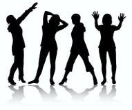 De silhouetten van vrouwen Stock Foto's