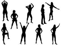 De silhouetten van vrouwen Stock Fotografie
