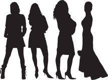 De silhouetten van vrouwen Stock Afbeelding