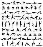De silhouetten van vrouwen De inzameling van yoga stelt Asanareeks Stock Fotografie
