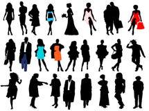 De silhouetten van vrouwen en mannen Stock Fotografie