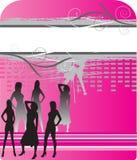 De silhouetten van vrouwen op abstracte achtergrond Stock Fotografie
