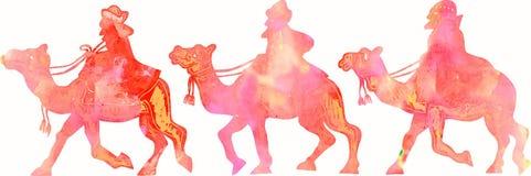 De Silhouetten van Watercolourmagi royalty-vrije illustratie