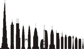 De silhouetten van wolkenkrabbers Stock Foto's