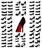 De silhouetten van schoenen Stock Fotografie