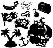 De silhouetteninzameling van de piraat Stock Afbeeldingen