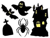 De silhouetteninzameling van Halloween Stock Afbeeldingen