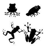 De silhouetteninzameling van kikkers Stock Foto