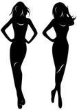 De silhouettenvector van vrouwen Stock Afbeelding