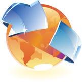 De sinaasappel en de pijl van de aarde Royalty-vrije Stock Afbeeldingen