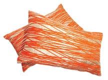 De sinaasappel en het zilver van trucs werpen hoofdkussens Royalty-vrije Stock Afbeeldingen