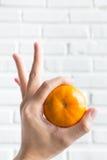 de sinaasappel van de handholding in O.k. gebaar Royalty-vrije Stock Afbeeldingen