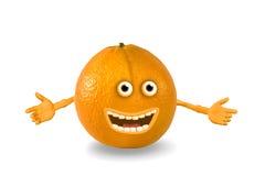 De sinaasappel van het beeldverhaal. Voorwerpen over wit. Stock Afbeeldingen
