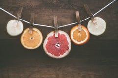 De sinaasappelen en het druivenfruit hangen om te drogen stock fotografie