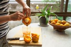 De sinaasappelen worden gedrukt met de hand om een zuiver en gezond jus d'orange te maken Royalty-vrije Stock Foto