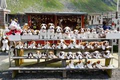De Sint-bernard van de pluchehond bij een markt op onderstel St Gotthard Royalty-vrije Stock Foto's