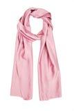 De sjaal roze die zijde, op een witte achtergrond wordt geïsoleerd Stock Foto