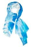De sjaal van de zijde Blauwe die zijdesjaal op witte achtergrond wordt geïsoleerd Stock Foto's