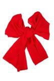 De sjaal van de zijde Rode die zijdesjaal als bowknot wordt gevouwen Royalty-vrije Stock Foto