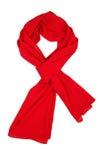 De sjaal van de zijde Rode die zijdesjaal op witte achtergrond wordt geïsoleerd Royalty-vrije Stock Foto's