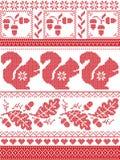 De Skandinavische en Noorse Kerstmiscultuur inspireerde feestelijk de winterpatroon in dwarssteek met eekhoorn, eikel, eiken blad stock illustratie