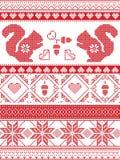 De Skandinavische en Noorse Kerstmiscultuur inspireerde feestelijk de winterpatroon in dwarssteek met eekhoorn, eikel, liefdehart stock illustratie