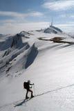 De skiër verliet de vallei Royalty-vrije Stock Foto