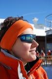 De skiërmeisje van het portret Stock Afbeeldingen