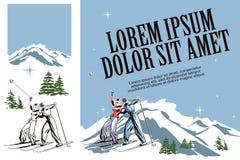 De skiërs op ski nemen zijn toevlucht Illustratie in retro stijl van reclame stock illustratie