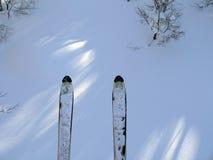 De ski van de berg op de sneeuwachtergrond royalty-vrije stock foto