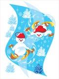 De ski van de sneeuwman Vector Illustratie