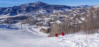 De skigebied van de stoombootlentes Stock Foto