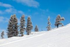 De skiliften van de stoel in Mayrhofen, Oostenrijk Stock Foto
