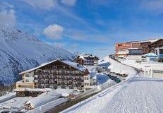 De skitoevlucht Hochgurgl Oostenrijk van de berg Royalty-vrije Stock Foto