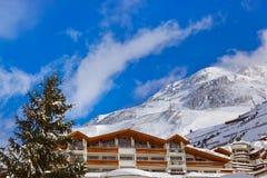 De skitoevlucht Obergurgl Oostenrijk van de berg stock afbeeldingen