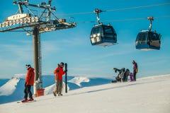 De skitoevlucht van BigWoodkirovsk in Khibiny-Bergen Stock Foto's
