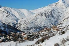 De skitoevlucht van Lesdeux Alpes, Frankrijk Stock Afbeeldingen