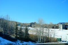 De skitoevlucht van de sneeuwmassa Stock Foto's